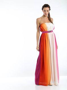 Abito lungo  abito a fascia  abito multicolore di LaraStuttgard