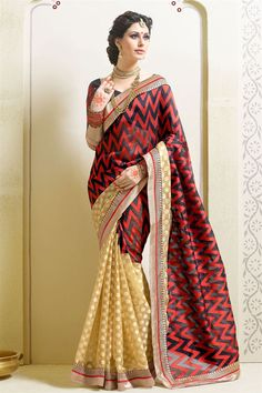 Enchanting Black And Cream Color #Designer #Saree.  Perfect outfit for any party or gathering. http://www.sanwaree.com/Buy/New-In/Enchanting-Black-And-Cream-Color-Designer-Saree-18926