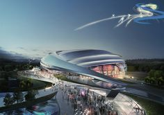 Image 4 of 18 from gallery of 2018 Pyeongchang Speedskating Arena Proposal / Idea Image Institute of Architects. Courtesy of Idea Image Institute of Architects (IIIA) Futuristic City, Futuristic Architecture, Contemporary Architecture, Landscape Architecture, Architecture Design, Pavilion Architecture, Futuristic Technology, Residential Architecture, Future Buildings