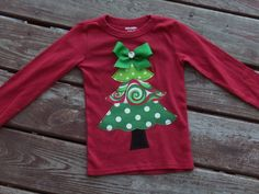 """FUNKY GIRLS """"O Christmas Tree"""" Swirl TREE Style tee sizes 6-12-18-24 mth 2-3-4-5-6-7-8 by TOOCUTEbyJeannette on Etsy"""