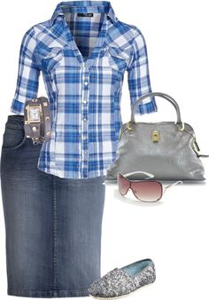 plaid button up, flats, short denim skirt grey