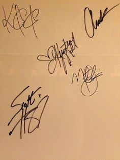 Kevin, Avi, Kirstie, Mitch, and Scott's signatures