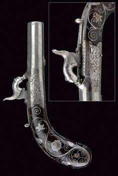 fine percussion traveling pistol by J. Beattie,    provenance: London dating:  mid-19th Century