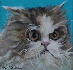 """ORIGINAL PAINTING Acrylic Board 4""""X4"""" ART Pet The Hairy Cat 2016 by Sue Flask #Miniature"""