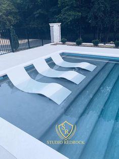 The Chaise Curve:A Luxury Polished Concrete Pool Lounge Chair. A contemporary concrete lounge chair crafted for your in-pool or patio space Backyard Pool Landscaping, Backyard Pool Designs, Small Backyard Pools, Swimming Pools Backyard, Swimming Pool Designs, Outdoor Pool, Lap Pools, Indoor Pools, Small Pools
