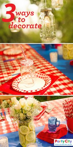 Searching for a fun way to put a unique DIY spin on your next outdoor party? Mason Jars are so versatile and can be transformed into all kinds of fun and vintage-looking decorations. Thread your outside lights through them, use them as a makeshift vase or simply use them as a cute way to serve those refreshing summer cocktails. Visit PartyCity.com to shop all your party supply essentials.