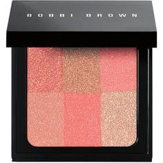 Bobbi Brown Women's brightening brick (€43) via Polyvore featuring beauty products, makeup, cheek makeup, blush, beauty, coral, blending brush, blender brush und bobbi brown cosmetics