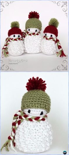 Crochet Scarfed Snowman Free Pattern - Amigurumi Crochet Snowman Stuffies Toys Free Patterns