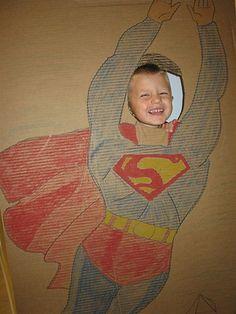 Superhero Birthdays are so fun!  make a cardboard cut out? (as a group activity?)
