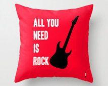Decorative Throw Pillows, Rock Accent Pillows, Guitar pillow, Boyfriend gift, Gifts ideas for men