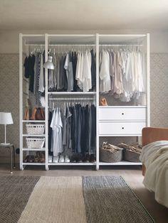 Closet Hacks, Ikea Closet, Elvarli Ikea, Small Closet Organization, Organizing, Open Wardrobe, Wardrobe Design, Closet Designs, Walk In Closet