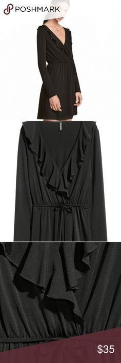 H & M Wrap Front Dress Long - sleeved dress in stretch jersey . V - neck and wrap over front section with over locked ruffle trim. Elasticized seam and tie waist. Unlined. Fabric is 95% polyester/5% spandex, machine wash cold. H&M Dresses Midi