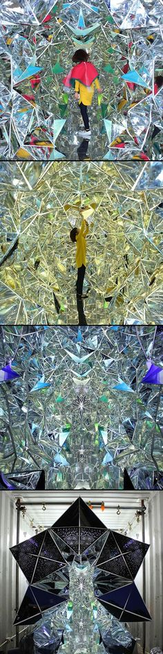 Tasked with the challenge of creating an environment inside an international shipping container for the 2013 Kobe Biennale, Japanese designers Masakazu Shirane and Saya Miyazaki created Wink Space, a mind-bendingly trippy tunnel similar to a giant kaleidoscope. The immersive installation was constructed with mirrors that formed a multi-faceted, reflective surface inside the shipping container, creating a breathtaking, psychedelic environment that could change completely as a person walked…