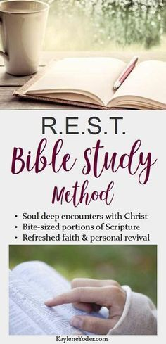 REST Bible Study Method The R. Bible Study Method guides you through soul deep encounters with Christ through bite-sized portions of Scripture. If your current devotional time is weak, hassled, or non-existent.
