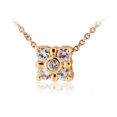 18K RGP Alloy Square Crystal Pendant Necklace