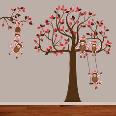 Childrens Wall Decal Sock Monkey Decal Tree by wallartdesign