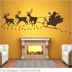 Wandtattoo Weihnachten - Santa Claus und Schlitten