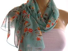 Seafoam Green Floral chiffon scarf Aqua green long chiffon scarf-Parisian Neck Tissu on Etsy, $16.00