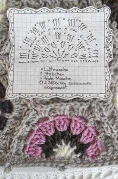 free crochet chart for a half 6-eck Granny - Hexagon-Granny