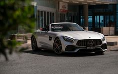 Download wallpapers 2018, Mercedes-Benz GT C AMG, Roadster, gray sports coupe, luxury sports cars, German cars, Mercedes