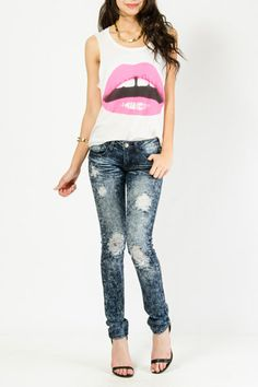 Low-Rise Distressed Denim Skinnies $23.99