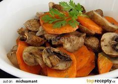 Pečená mrkev a žampiony recept - TopRecepty.cz Pot Roast, Carrots, Paleo, Food And Drink, Veggies, Cooking Recipes, Vegetarian, Ethnic Recipes, Indie