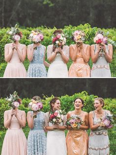 Bouquets over faces of bridal party
