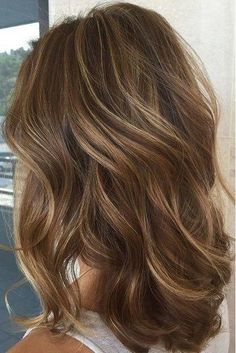 Chestnut Brown with Thin Caramel Blonde Balayage