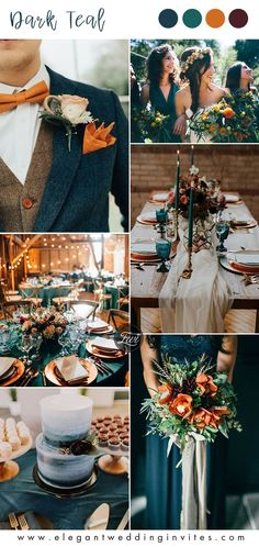 dark teal and orange fall wedding color ideas dark teal and orange fall wedding . dark teal and orange fall wedd. Cute Wedding Ideas, Perfect Wedding, Dream Wedding, Wedding Day, Fall Wedding Inspiration, Elegant Wedding, Wedding Ties, Wedding Stuff, Fall Wedding Colors