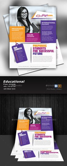 Buy Education Flyer Design by Designcrew on GraphicRiver. Education Flyer Design fully editable in illustrator and word. Source: Ai, Eps, Word Size: 210 by 297 mm Bleed: Brochure Sample, Brochure Layout, Brochure Design, Flyer Design, Brochure Ideas, College Brochure, Education Banner, Bachelor, Cool Business Cards