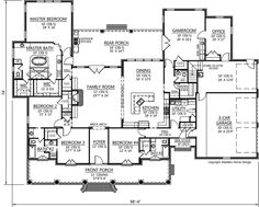 Luxury Style House Plans - 3782 Square Foot Home, 1 Story, 4 Bedroom and 3 3 Bath, 3 Garage Stalls by Monster House Plans - Plan 91-137