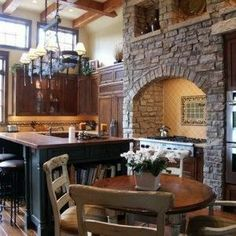 Great Old World Style Kitchens : Elegant Old World Style Kitchens – Better Home and Garden. Sher- note background wood hutch, arch etc Italian Interior Design, Beautiful Interior Design, Interior Ideas, Old World Kitchens, Cool Kitchens, Cabin Kitchens, Style Ancien, Boho Chic Living Room, World Decor
