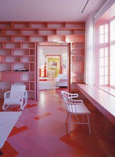 Pink floors in a Stockholm apartment designed by Tham & Videgard Arkitekter