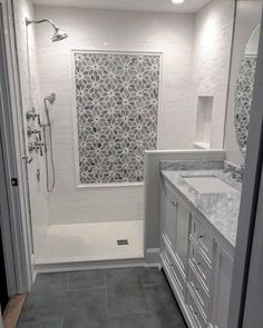 29 Popular Bathroom Shower Tile Design Ideas And Makeover. If you are looking for Bathroom Shower Tile Design Ideas And Makeover, You come to the right place. Here are the Bathroom Shower Tile Design. Bathroom Floor Tiles, Bathroom Renos, Bathroom Renovations, Bathroom Fixtures, Remodel Bathroom, Bathroom Colors, Master Shower Tile, Tile Floor, Bathtub Tile