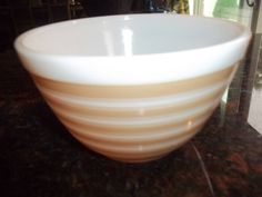 Beige and White Stripe 402 Vintage Pyrex Nesting Mixing Bowl 1.5 Qt by PyrexKitchen on Etsy