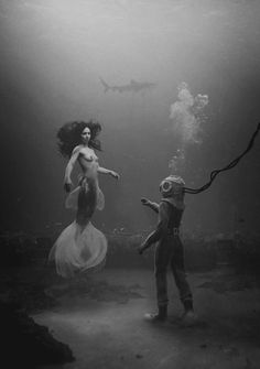 black and white, mermaid, sea