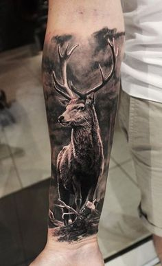 Tattoo sleeve designs & ideas are widely used by both women and men. If you're looking for the best stag tattoos, you'll love this gallery of sleeve tattoo designs. Animal Sleeve Tattoo, Nature Tattoo Sleeve, Dragon Sleeve Tattoos, Sleeve Tattoos For Women, Tattoo Sleeve Designs, Tattoo Designs Men, Tattoos For Guys, Cool Tattoos, Forest Tattoo Sleeve