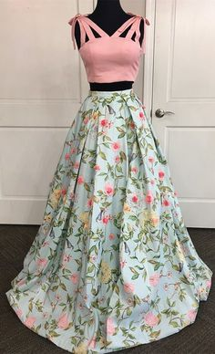 Dresses - two piece floral long prom dress, 2018 long prom dress, graduation dress party dress Indian Gowns Dresses, Sexy Dresses, Fashion Dresses, Prom Dresses, Lehenga Designs, Lehnga Dress, Dress Skirt, Lehenga Blouse, Indian Designer Outfits