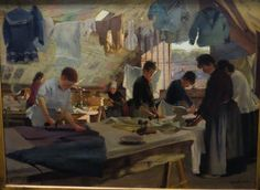 """... """"Atelier de repasseusses à Trouville"""" 1888, Louis-Joseph Anthonissen (Santoliet 1849. """""""