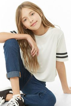 Girls Varsity Striped-Trim Top (Kids) - September 28 2019 at Girls Summer Outfits, Cute Girl Outfits, Cute Casual Outfits, Outfits For Teens, Fall Outfits, Preteen Girls Fashion, Girls Fashion Clothes, Little Girl Fashion, Fashion Outfits