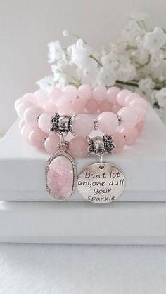Rose Quartz Gemstone Bracelet/ Semi Precious Beaded Bracelet/ Druzy Stone Charm/ Stretch Bracelet/ Pink Bracelet/ Mother's Day/ Gift Ideas