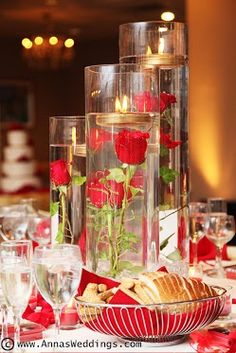 Wedding Flowers Great Centerpieces with Red Roses | New York Wedding Photography by www.AnnasWeddings.com
