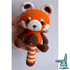 Red panda amigurumi crochet pattern. PDF file. DIY. Language
