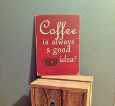 Barn red wood coffee sign with cream lettering. by HandcraftedbyJo