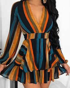 Multi Color Stripes Layered Ruffles Mini Dress We Miss Moda is a leading Women's Clothing Store. Casual Dresses For Women, Girls Dresses, Summer Dresses, Clothes For Women, Dress Casual, Long Dresses, Dresses Dresses, Long Sleeve Casual Dresses, Cheap Clothes