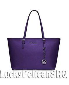 Michael Kors Jet Set Travel Top Zip Tote  Bag Handbag Grape Purple NWT #MichaelKors #TotesShoppers
