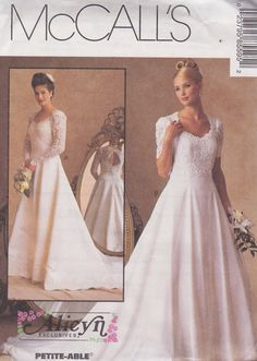 1996. Sweetheart A Line Flared Wedding, Bridal Gown Vintage Pattern, McCalls 8559, Alicyn, Lace Sleeves and Overlay, Keyhole Back, Train