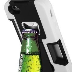 Bottle Opener Kickstand Card Case and Screen Protector for iPhone 5 (White)