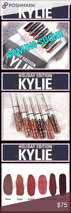 ❄️KYLIE HOLIDAY COLLECTION❄️MINI MATTE LIPSTICKS❄️ 🚫DO NOT BUY YET🚫NO TRADES🚫 ✅💯% AUTHENTIC‼️ ✅BUY WITH CONFIDENCE ✅PRICE IS FIRM   These 6 special shades are INFUSED WITH DIAMOND POWDER & come in limited edition silver packaging for the holiday season.  Each Matte Liquid Lipstick Mini Kit contains the following shades:   ❄️Moon (taupe-y nude) ❄️Ginger (warm terracotta brown) ❄️Kristen (warm brown berry) ❄️Angel (warm pinky nude) ❄️Love Bite (rich plum brown) ❄️Vixen (blackened vamp…