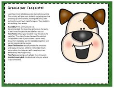 Puppy Emotions. (Italian Syllable Puzzles Literacy Centre) | TpT Italian Words, French Words, Beginning Sounds, Little Games, Vowel Sounds, Syllable, Literacy Centers, Mathematics, How To Introduce Yourself
